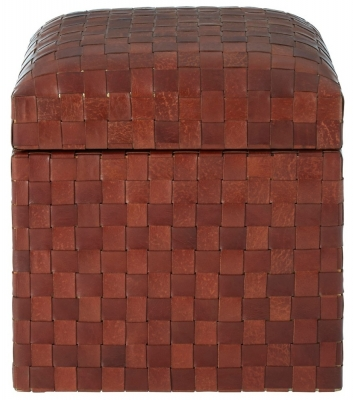 Adelaide Genuine Brown Leather Storage Stool