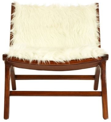 Adelaide White Faux Fur Angled Chair