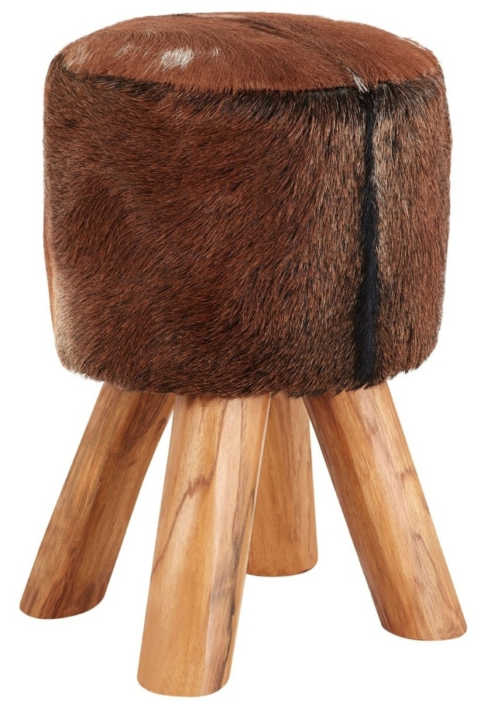 Adelaide Brown Goat Hide Round Stool