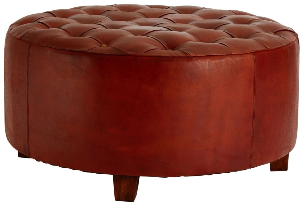 Adelaide Genuine Antique Brown Leather Buttoned Stool