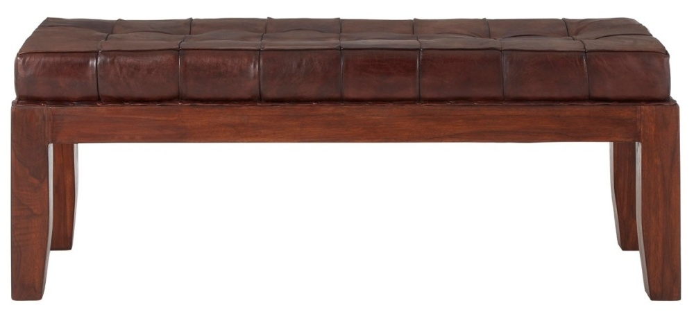 Adelaide Genuine Antique Brown Leather Stitch Bench