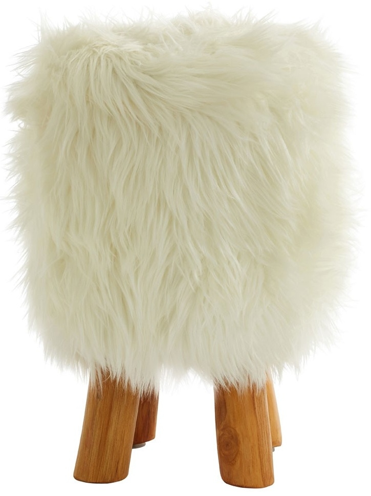 Adelaide White Faux Fur Round Stool