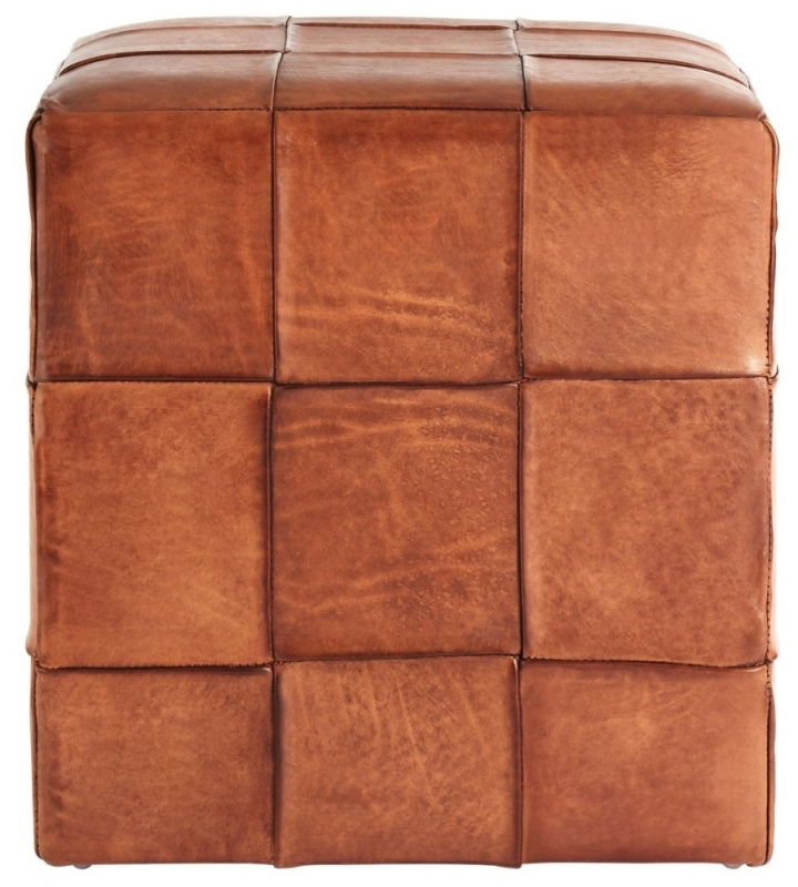 Adelaide Square Genuine Brown Leather Stool