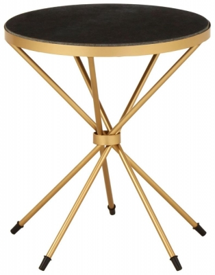 Barnet Black Marble and Gold Side Table