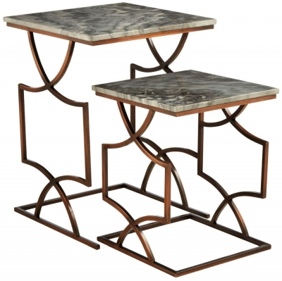 Barnet Grey Marble Top Set of 2 Tables with Bronze Metal Base