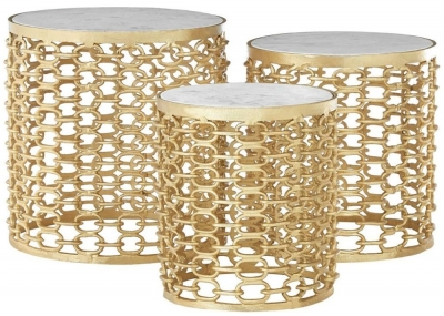Barnet Marble and Gold Side Tables (Set of 3)