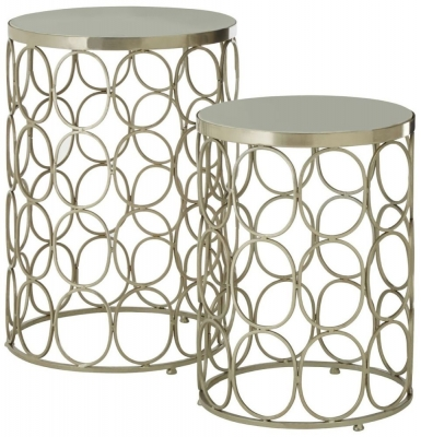 Barnet Marble and Silver Side Tables (Set of 2)