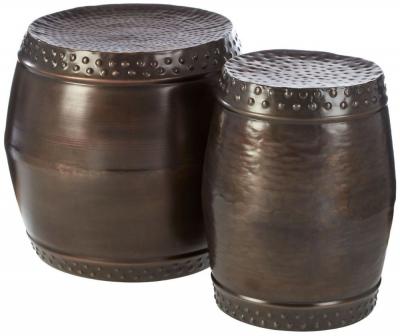 Barnet Rustic Brown Drum Style Side Tables (Set of 2)