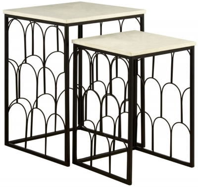 Barnet White Marble Top Set of 2 Tables with Black Metal Base