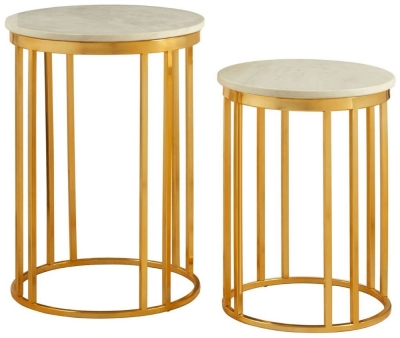 Barnet White Marble and Gold Linear Side Tables (Set of 2)