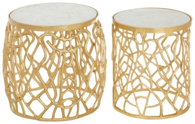 Barnet White Marble and Gold Side Tables (Set of 2)