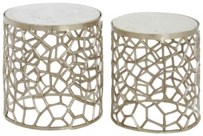 Barnet White Marble and Nickel Alluminium Side Tables (Set of 2)