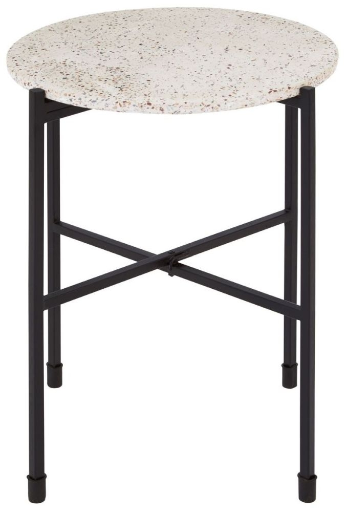 Barnet Black Terrazo Side Table