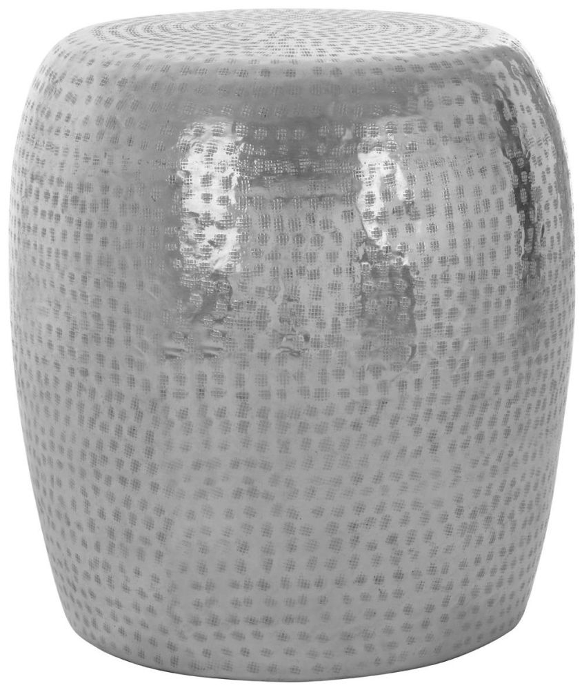 Barnet Silver Aluminium Round Stool