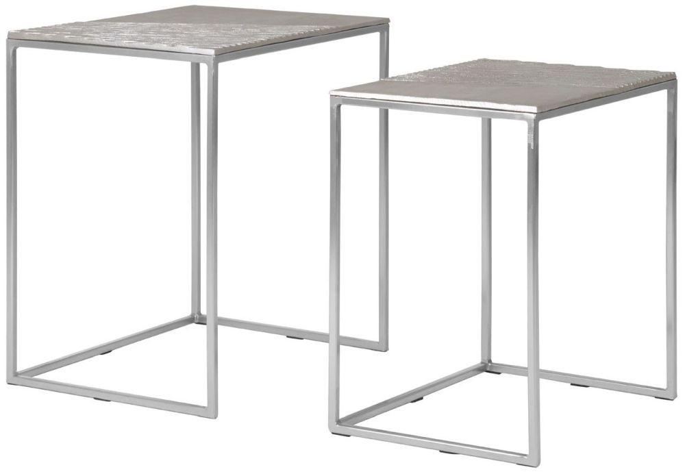 Barnet Silver Metal Nest of 2 Side Tables