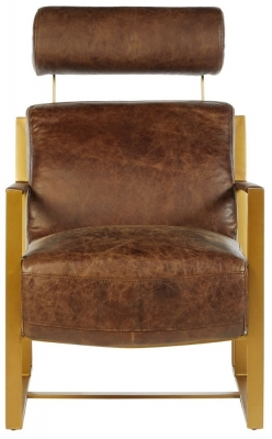 Bexley Genuine Brown Leather Lounge Chair
