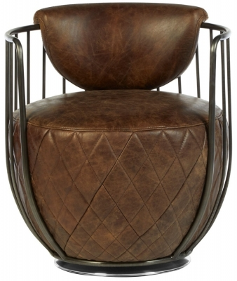 Bexley Genuine Brown Leather Swivel Chair