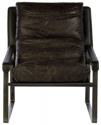Bexley Genuine Dark Brown Leather Lounge Chair