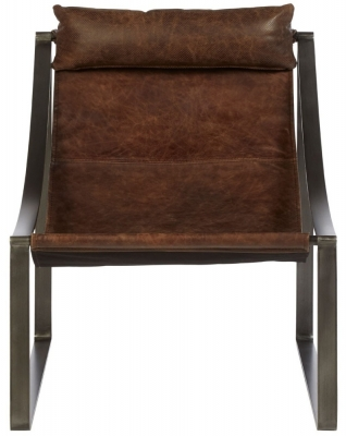 Bexley Genuine Distressed Brown Leather Chair