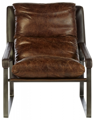 Bexley Genuine Distressed Brown Leather Lounge Chair
