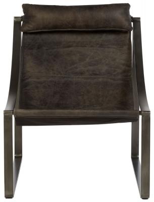 Bexley Genuine Distressed Ebony Leather Chair