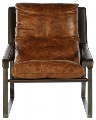 Bexley Genuine Distressed Light Brown Leather Lounge Chair