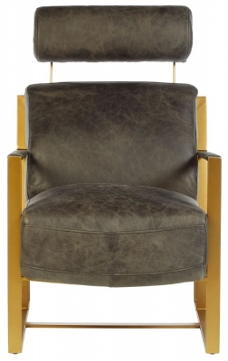 Bexley Genuine Ebony Leather Lounge Chair