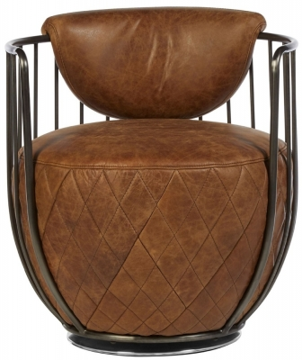 Bexley Genuine Light Brown Leather Swivel Chair