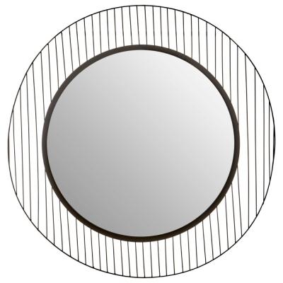 Brisbane Black Linear Lines Frame Wall Mirror