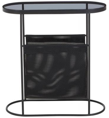 Brisbane Black Side Table with Smoke Grey Glass Top