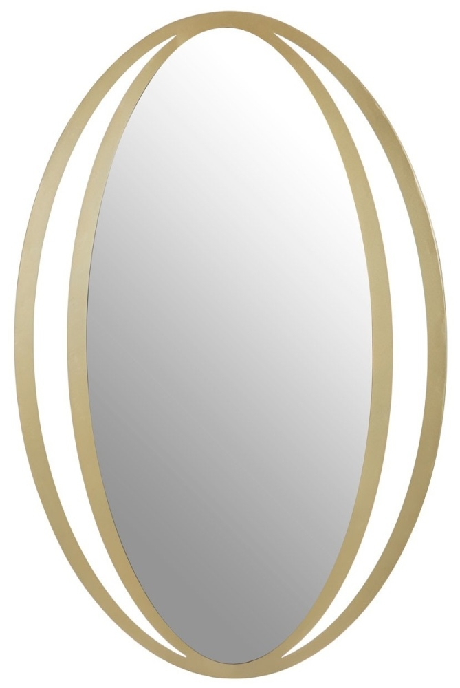 Brisbane Gold Double Ring Design Oval Wall Mirror