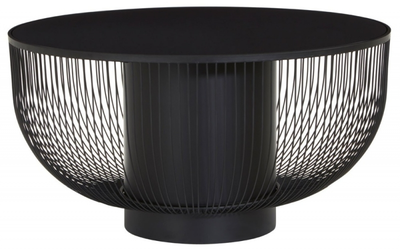 Brisbane Black Coffee Table with Glass Top