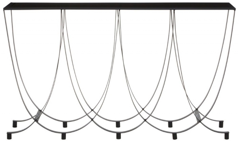 Brisbane Black Console Table with Glass Top
