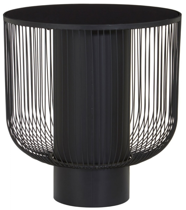 Brisbane Black End Table with Glass Top