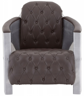 Chalfont Aviator Brown Faux Leather Split Back Armchair
