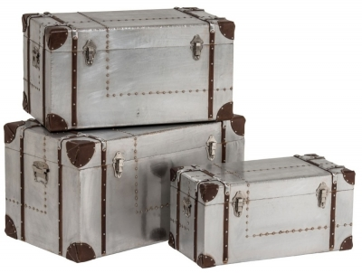 Chalfont Aviator Aluminium Storage Trunk (Set of 3)