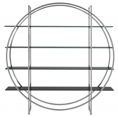 Envi Black Glass and Chrome Round Shelf Unit