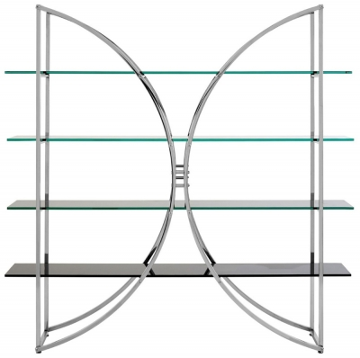 Envi Glass and Chrome Curved Shelf Unit