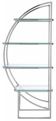 Envi Glass and Chrome Left Side Shelf Unit