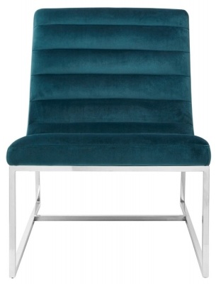 Envi Teal Velvet Curved Cocktail Chair
