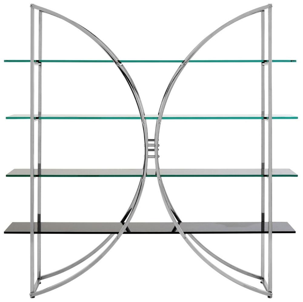 Envi Glass and Chrome Curved Shelf Unit