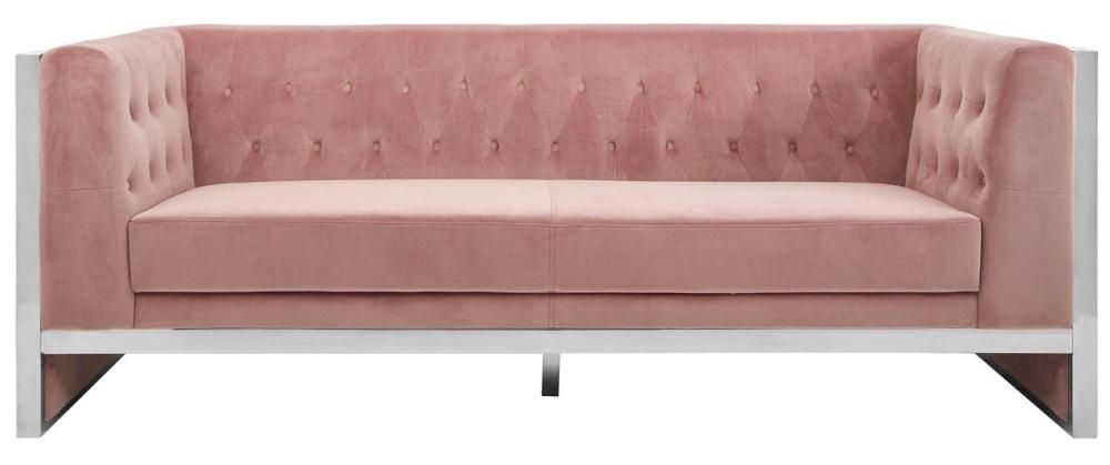 Envi Pink Velvet 3 Seater Sofa