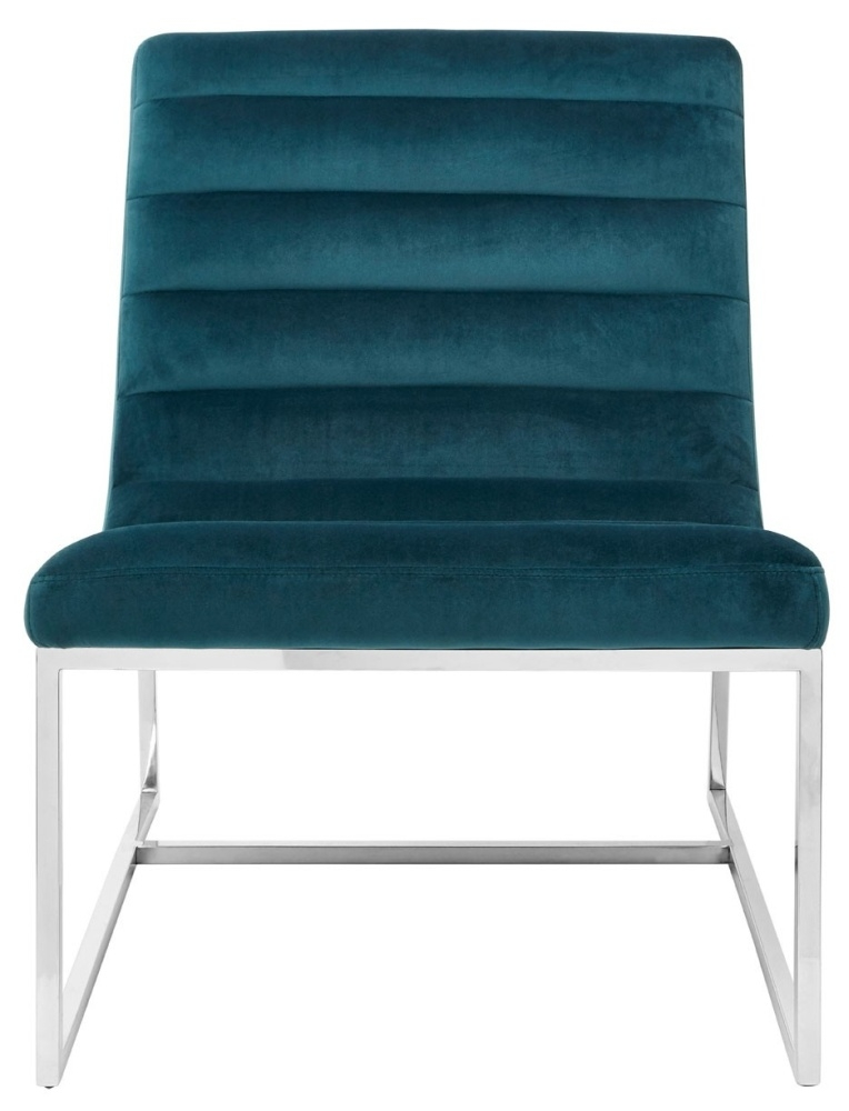 Envi Teal Velvet Curved Cocktail Chair