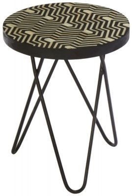 Esher Black Bone Inlay Hairpin Legs Round Side Table