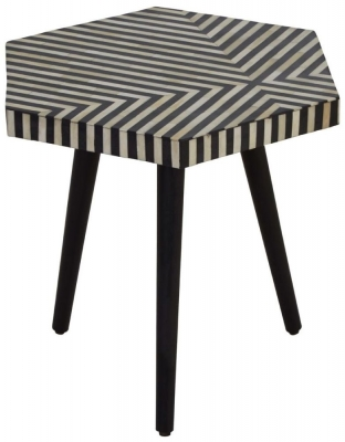 Esher Black Bone Inlay Hexagonal Side Table