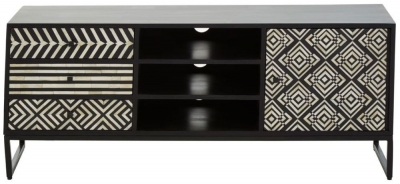 Esher Black Bone Inlay Acacia TV Cabinet