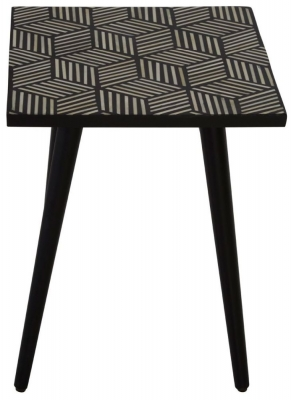 Esher Black Bone Inlay Textured Square Side Table