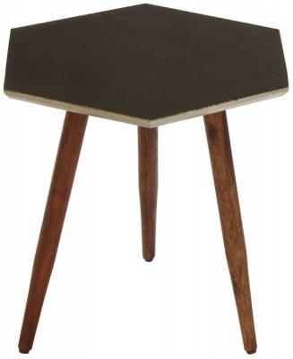 Esher Sheesham Wood Hexagonal Side Table