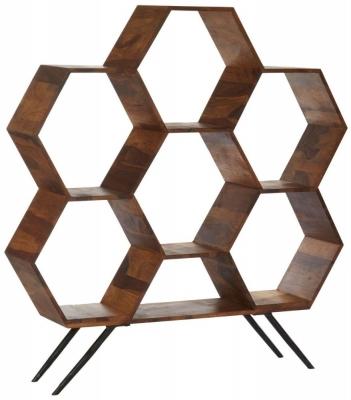 Esher Natural Sheesham Wood Hexagonal Bookshelf