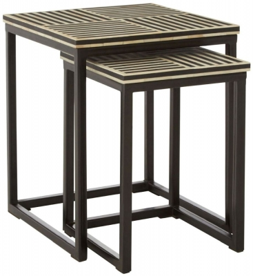 Esher Black Bone Inlay Nest of 2 Table